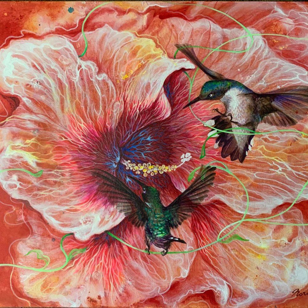NCooper - Hummingbird Nectar - Acrylics - 12x16 - $155