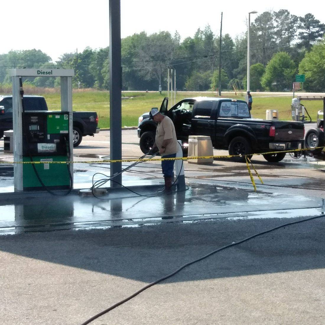 Gas station cleaning pressure washing soft washing canopy