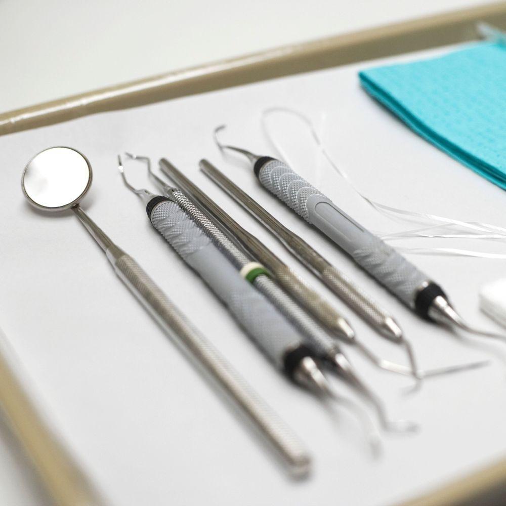 sterilized dental tools on tray