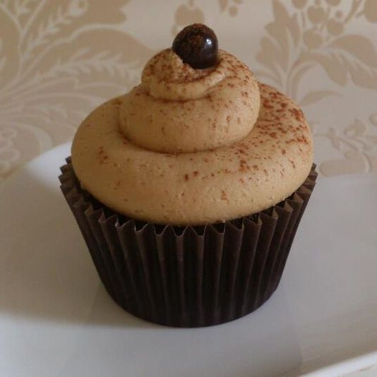 Vegan Mochachino cupcake chocolate sponge topped coffee icing