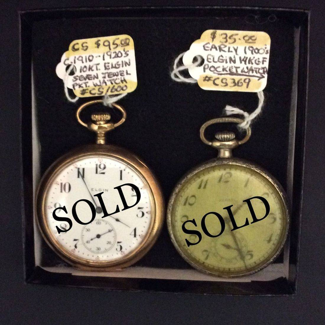 C. 1910-1920's, 10 Kt. Elgin, Seven Jewel, Pocket Watch  $95,  Early 1900's, 14 KGF Elgin, Pocket Watch  $35.00