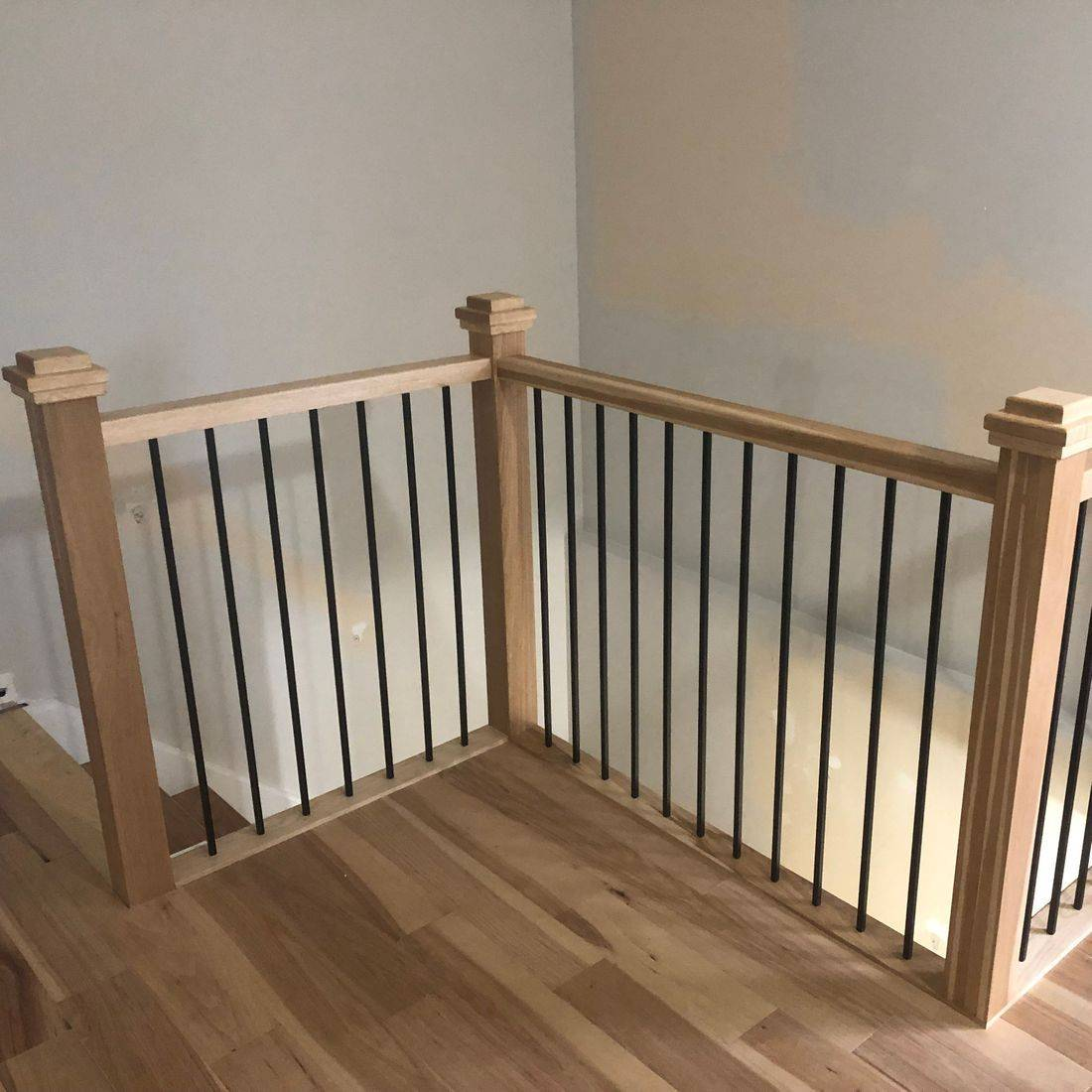 Hickory Railing with Steel Spindles in Kitchener Ontario