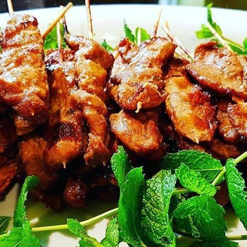 Moo ping, pork skewers