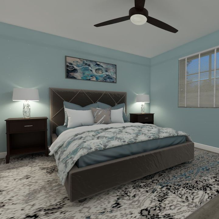 interior design, master bedroom, teal, turquoise, add colour