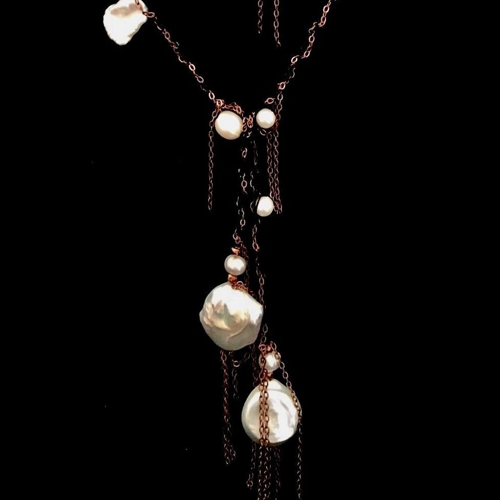 Copper & Pearl Necklace, Lariat