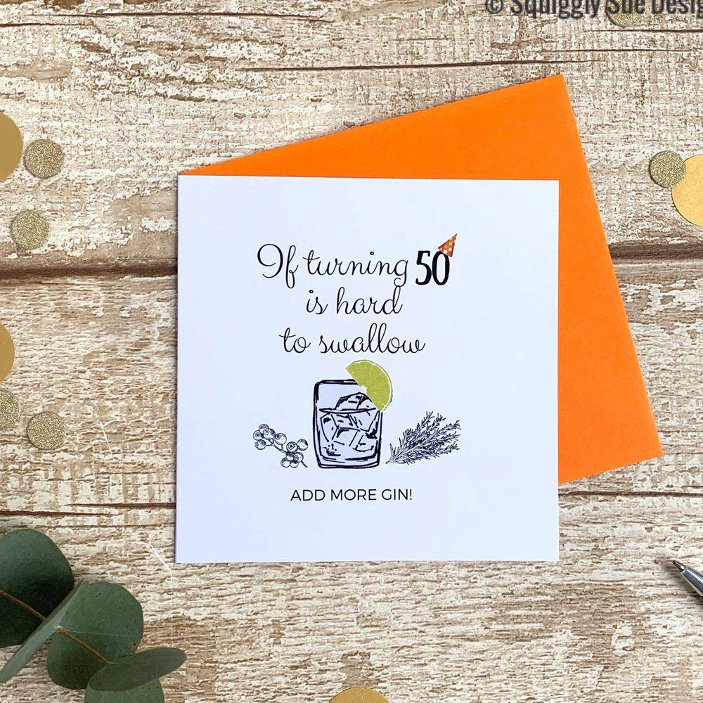 Perfect birthday card for gin lovers turning 50