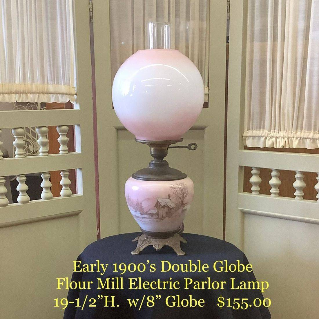 Early 1900's Double Globe Flour Mill Electric Parlor Lamp $155.00