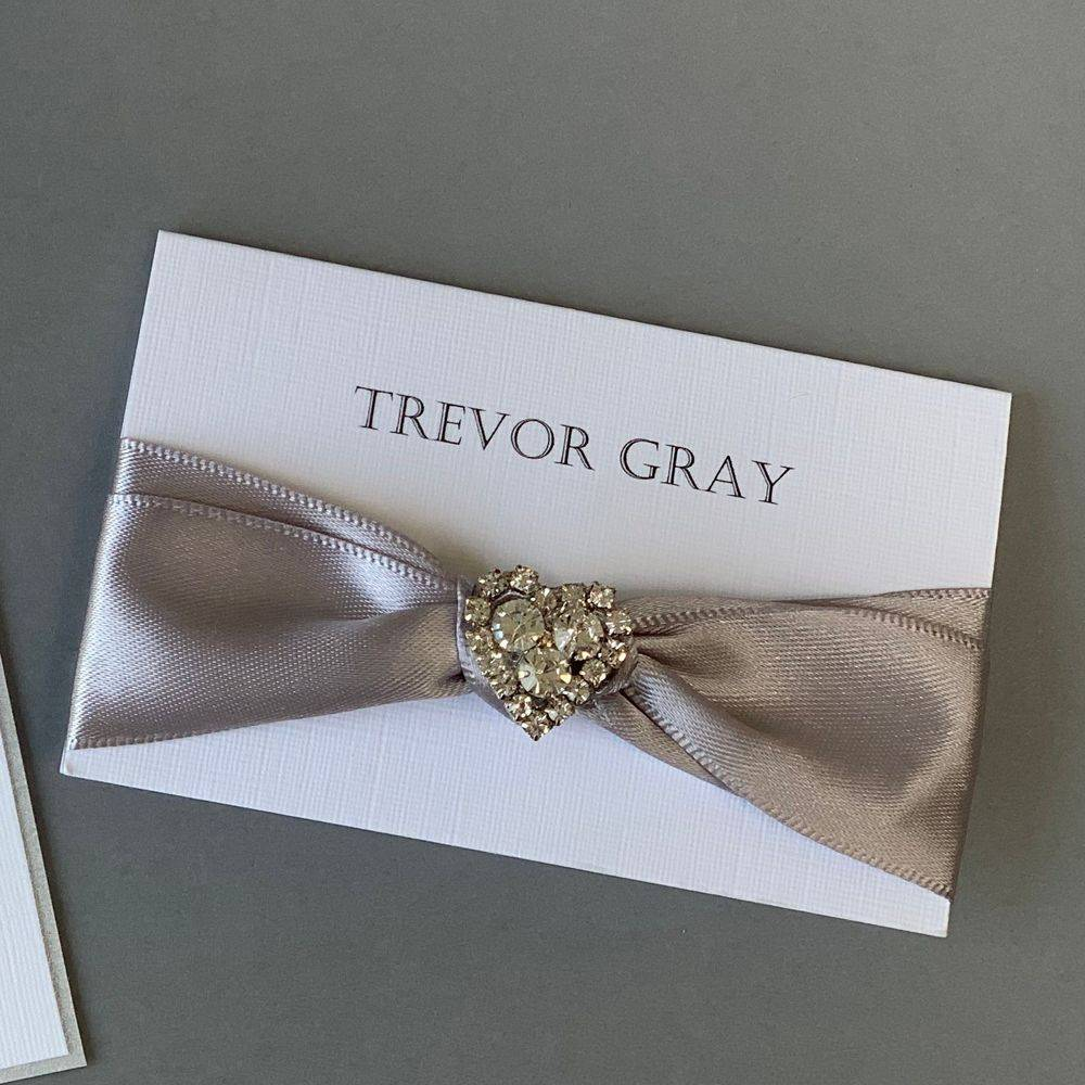 Wedding guest place names white and silver with crystal heart