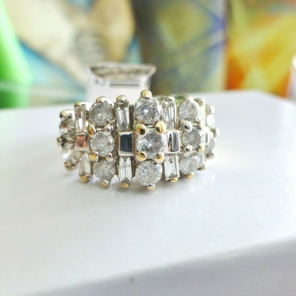Round and Baguette Diamond Cluster Anniversary Ring, Prong Set in Yellow Gold