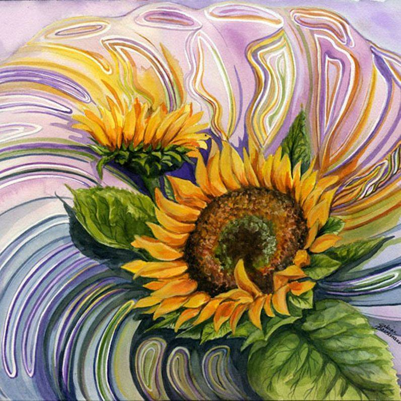"""SBaeckmann - Sunflower in a Glass Bowl - 11"""" x 14""""  Watercolors  Matted and Framed - $450"""