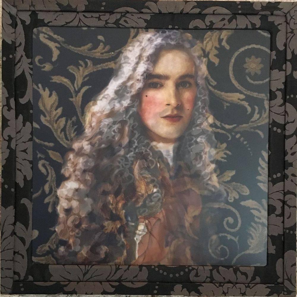 Lampe, applique, Edward, classic art, rococo, portrait d'homme, tableau lumineux.