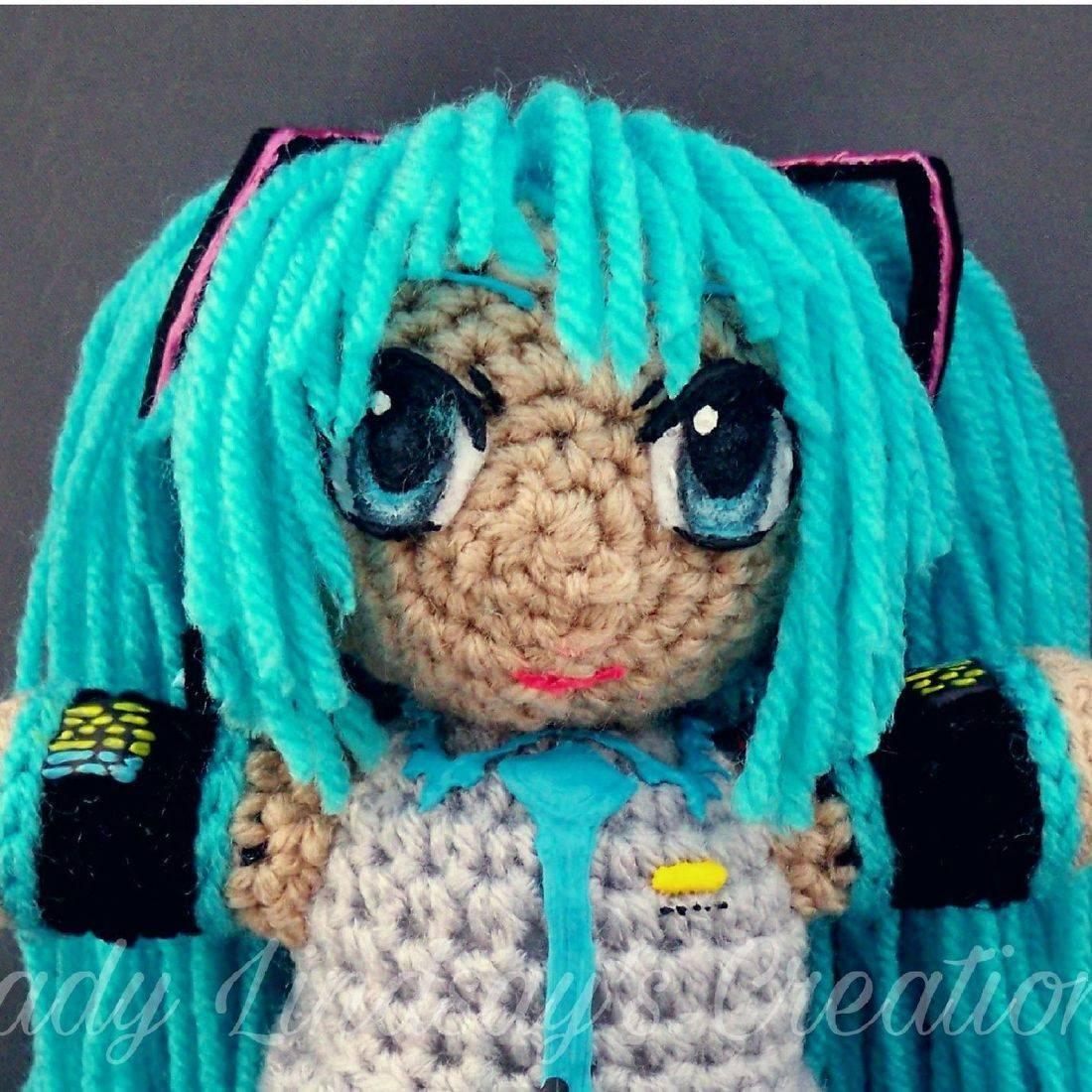 Hatsune Miku, amigurumi, anime, vocaloid, Japan, crochet, handmade, craft, videogames, comicbooks, Lady Lindsay's Creations, Shop Small