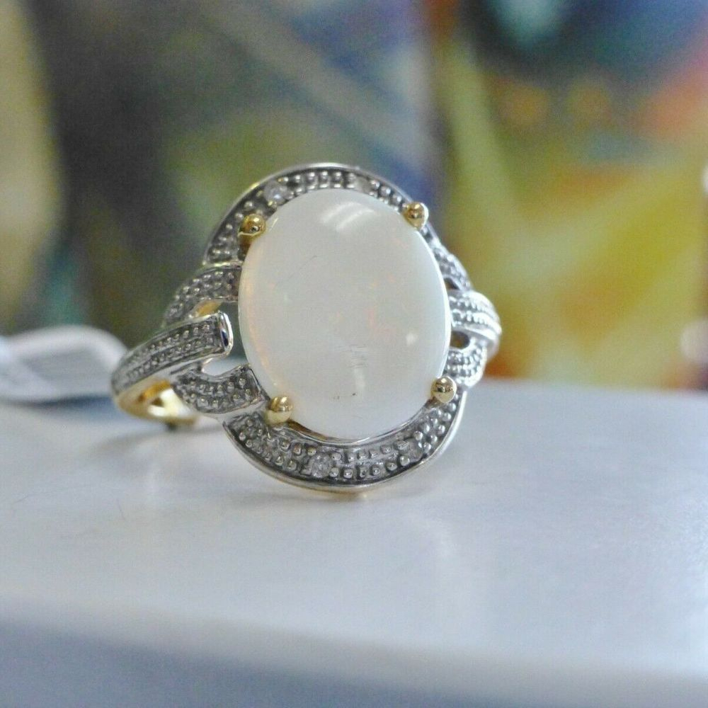 10K Gold Oval Opal Beaded Frame Diamond Accent Cocktail Ring