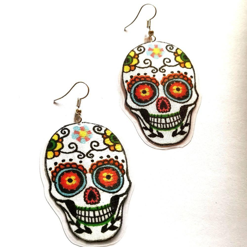 Boucles d'oreilles rock, boucles d'oreilles tête de mort, Bijoux rock, bijoux crâne, bijoux tête de mort, bijoux Biker, bijoux rockabilly, bijoux pinup, Skull, crâne, tête de mort, bijoux artisanaux, Rock'n'Babe, rocknbabe, rocknbabeshop, tête de mort mexicaine