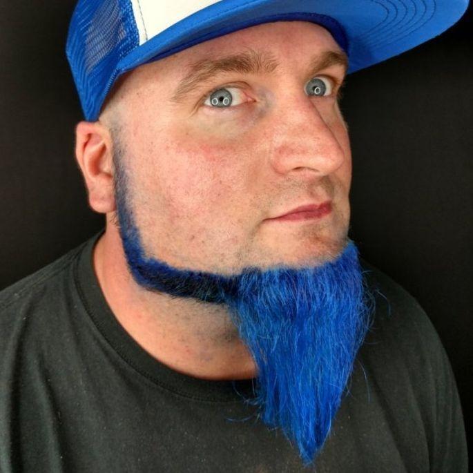 Blue hair beard charlotte barber colored beards mens fashion