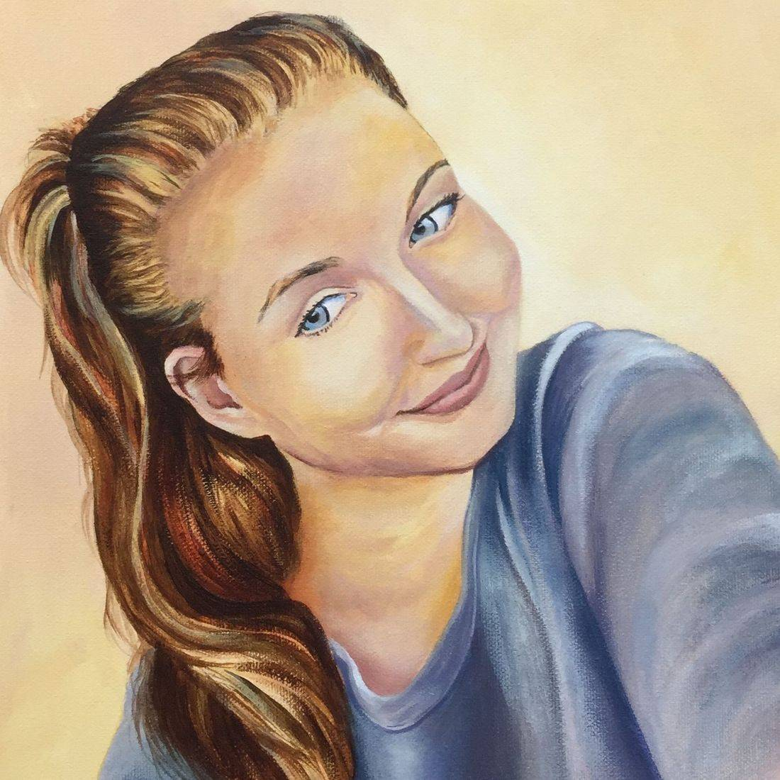 acrylic portrait commission by sandra louisa