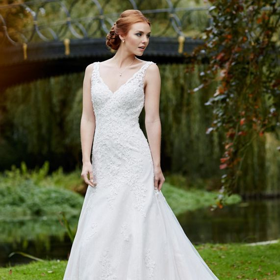 strapped wedding dress, V neck, low back