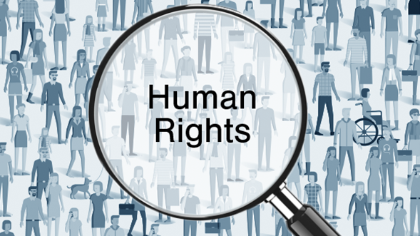 Human Rights in a magnifine glass