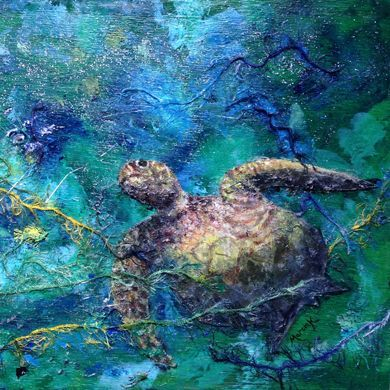 Turtle mixed media painting by Marcia Kuperberg