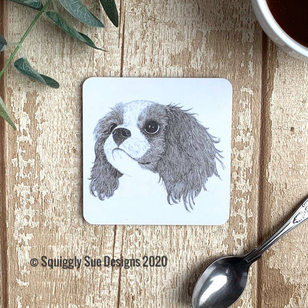 King Charles Spaniel Dog coaster pen & ink sketch