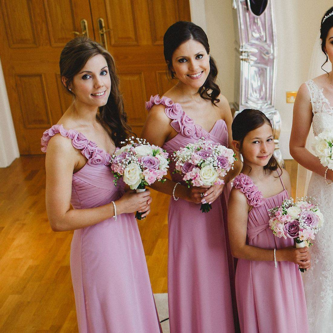 bridesmaids2017,pink dress, one shoulder