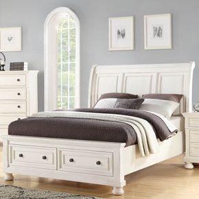 Sleigh Bed w/ Footboard Storage