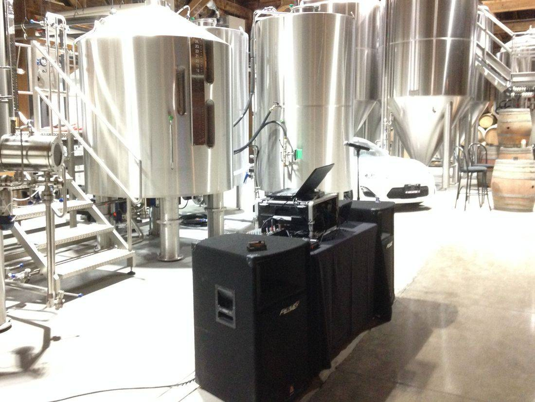 DJ setup at brewery