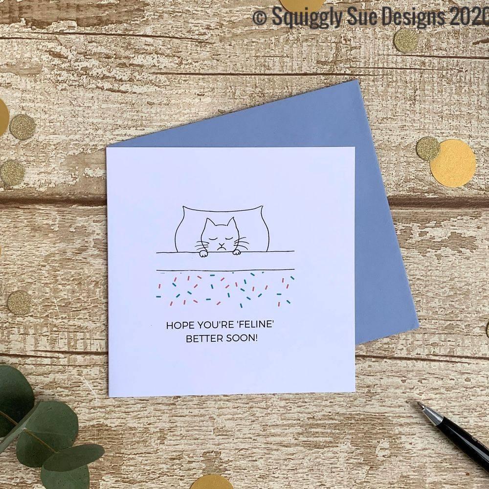Feline better cat lovers get well soon card