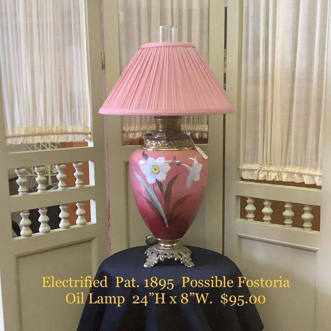 Pat. 1895 Possible Fostoria, Electrified Oil Lamp