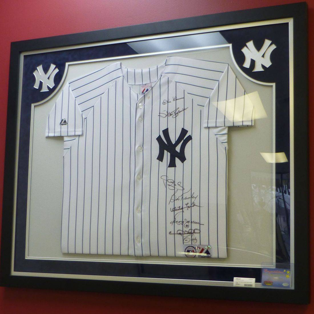 Autographed Yankees Jersey in Frame With COA