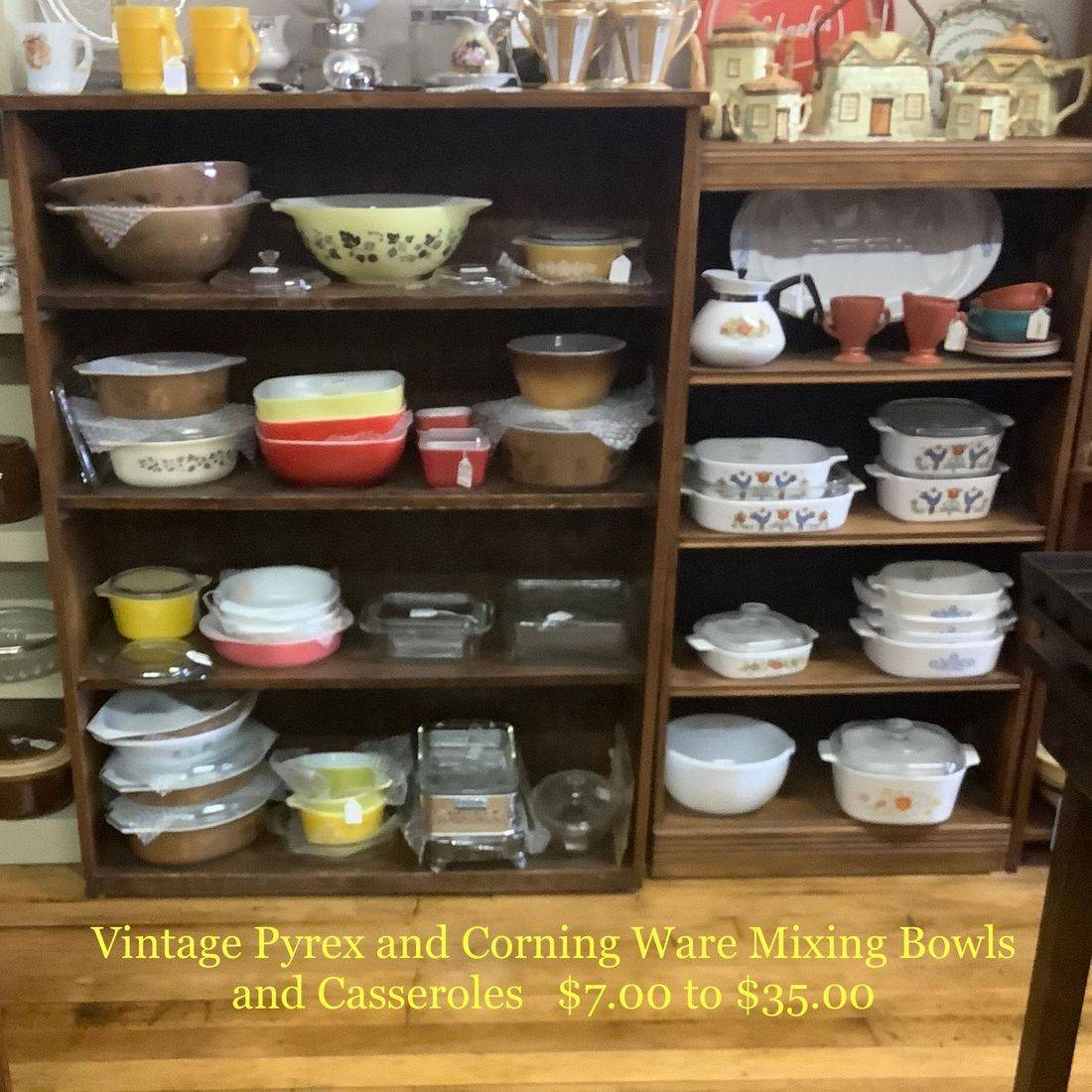 Vintage Pyrex and CorningWare Mixing Bowls and Casseroles    $7.00 - $35.00