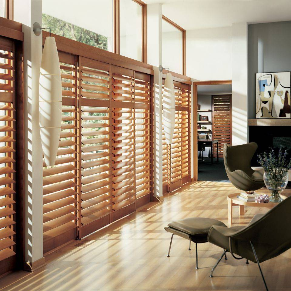 Hunter Douglas Heritance Hardwood Shutters offer the warm, rich look of 100% hardwood. These are elegant Plantation Wood Shutters!