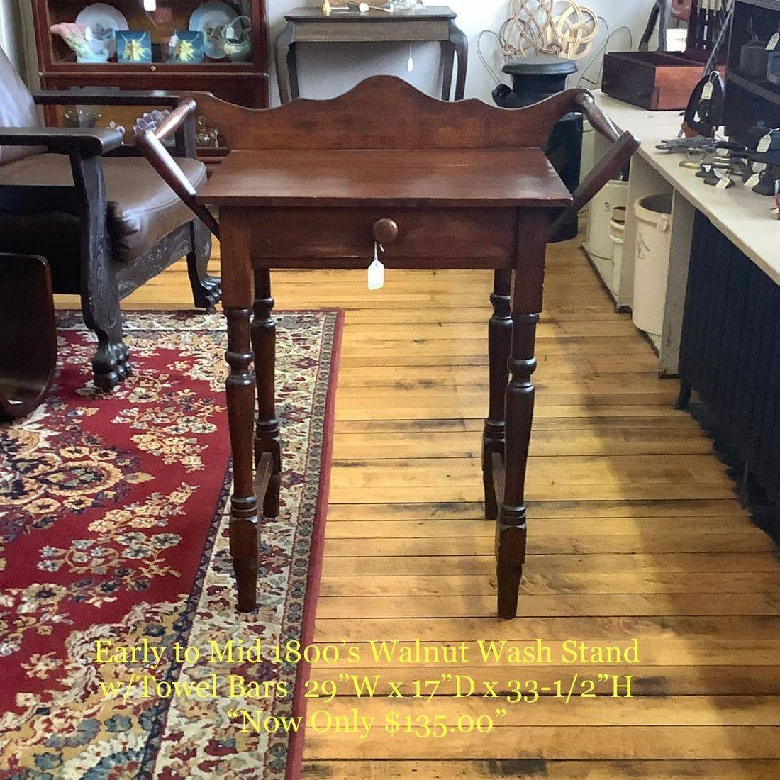 "Early to Mid 1800's Primitive Walnut Wash Stand w/Towel Bars  ""Now Only  $135.00"""