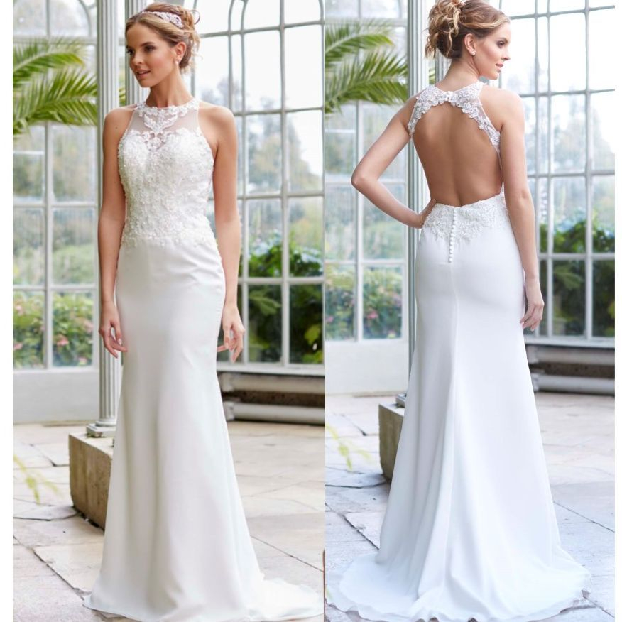 Backless, high neck, mermaid, chiffon,