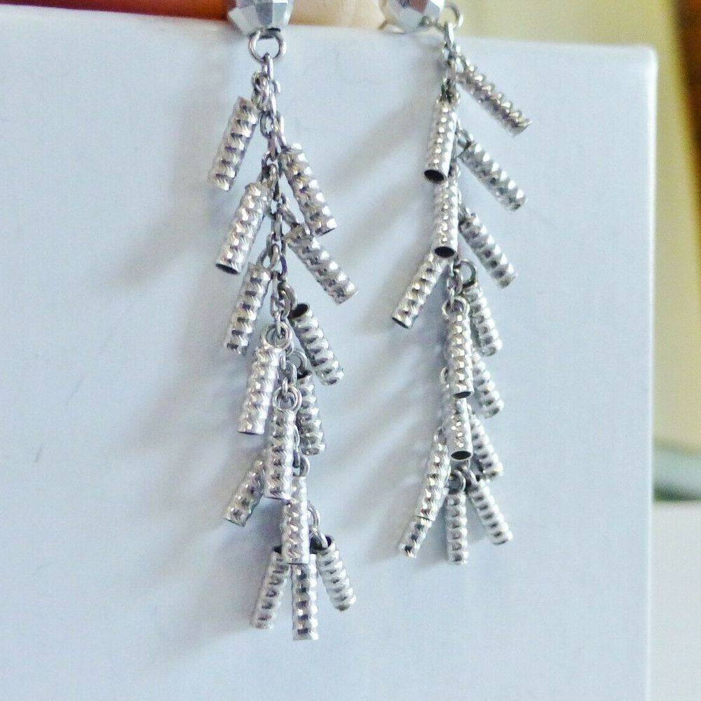 White Gold Textured Tube Fringe Dangle Earrings