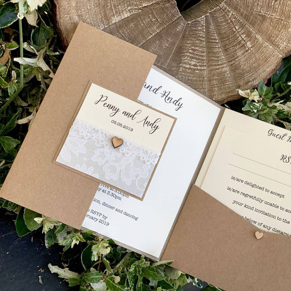 Rustic Wedding Invitation with wooden heart, belly band