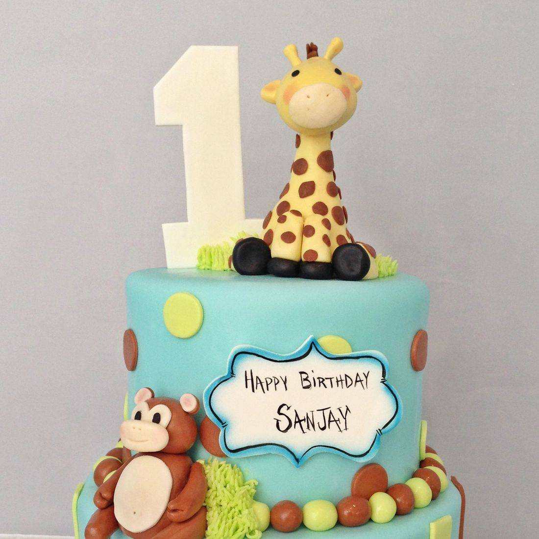 Custom Baby Jungle Animals Birthday Cake  Milwaukee