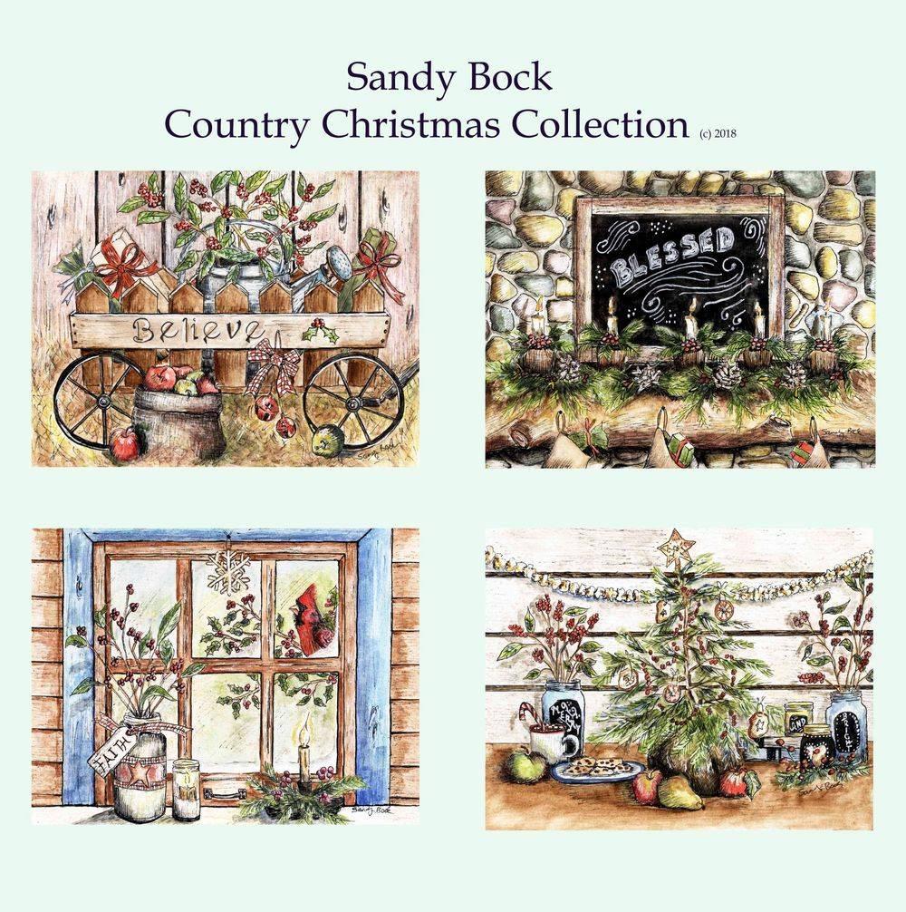 sandy bock, christmas art, watercolor, christmas illustrations, faith art, christmas tree