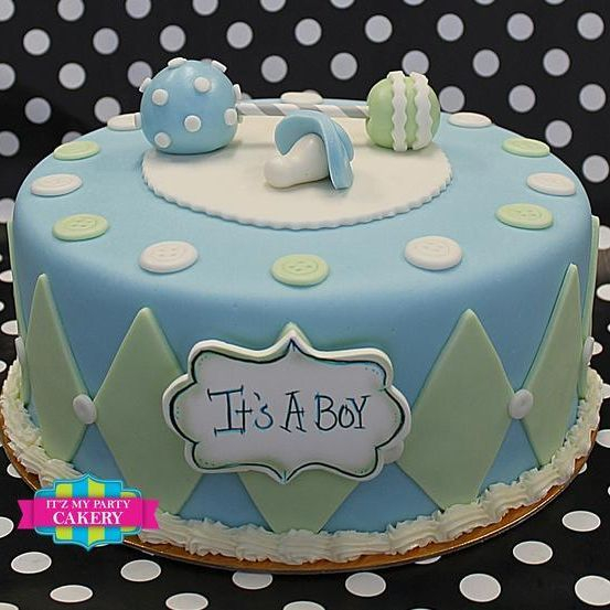 Custom Blue Rattle Baby Shower Cake Milwaukee