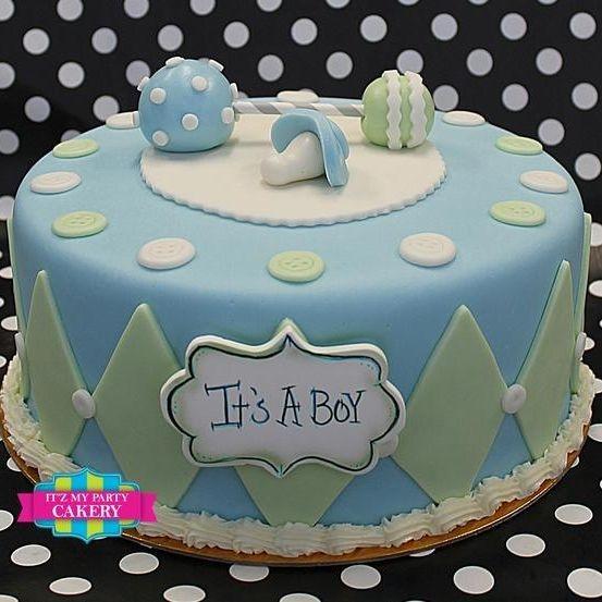 Custom Blue Rattle Baby Shower Cake Milwaukee
