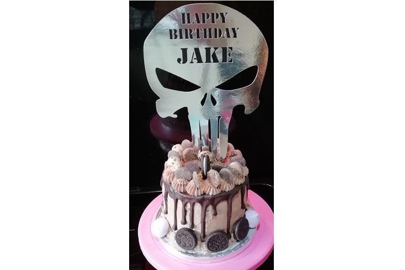 The Punisher Birthday Drip Cake