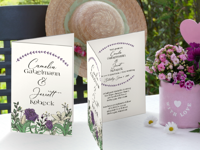purple floral wedding invitations suite save the date