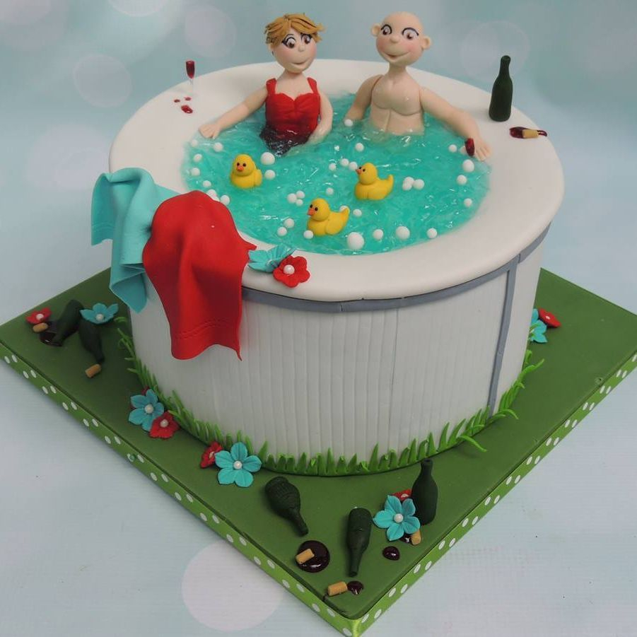 Hot Tub Pool Birthday Celebration Novelty Cake