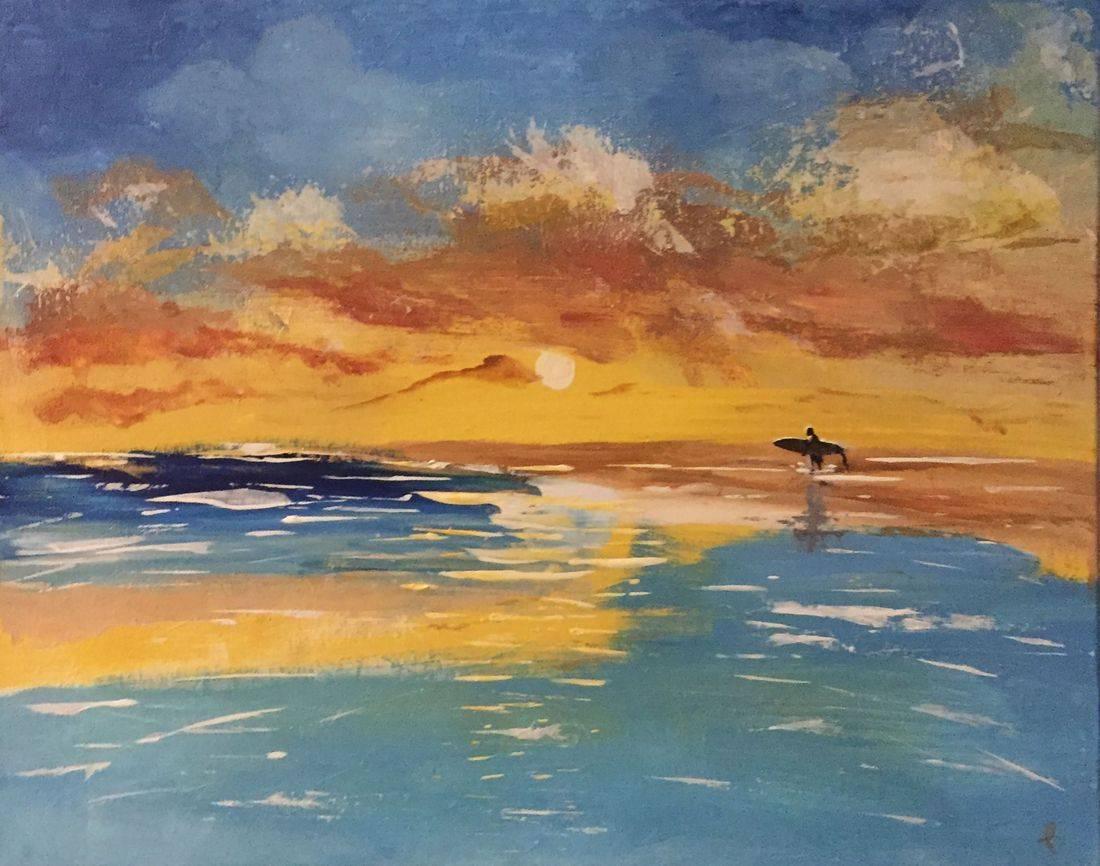 surfer sunset seascape original abstract acrylic on canvas painting
