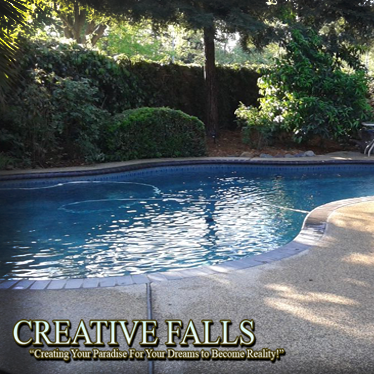 backyard pool landscape sacramento elk grove waterfall concrete landscape