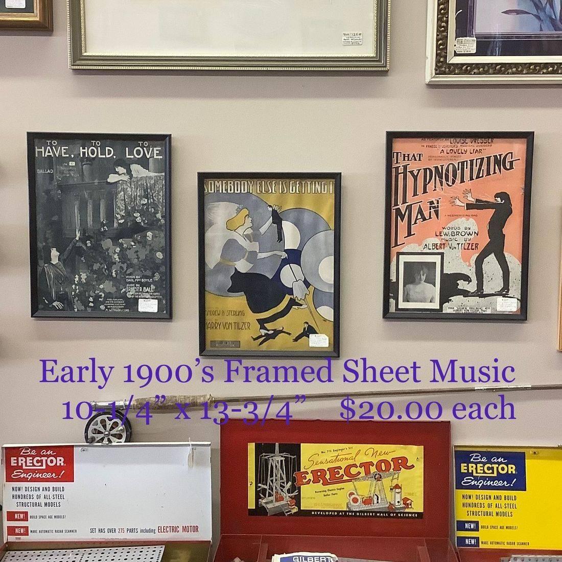 Early 1900's Framed Sheet Music  $20.00 each
