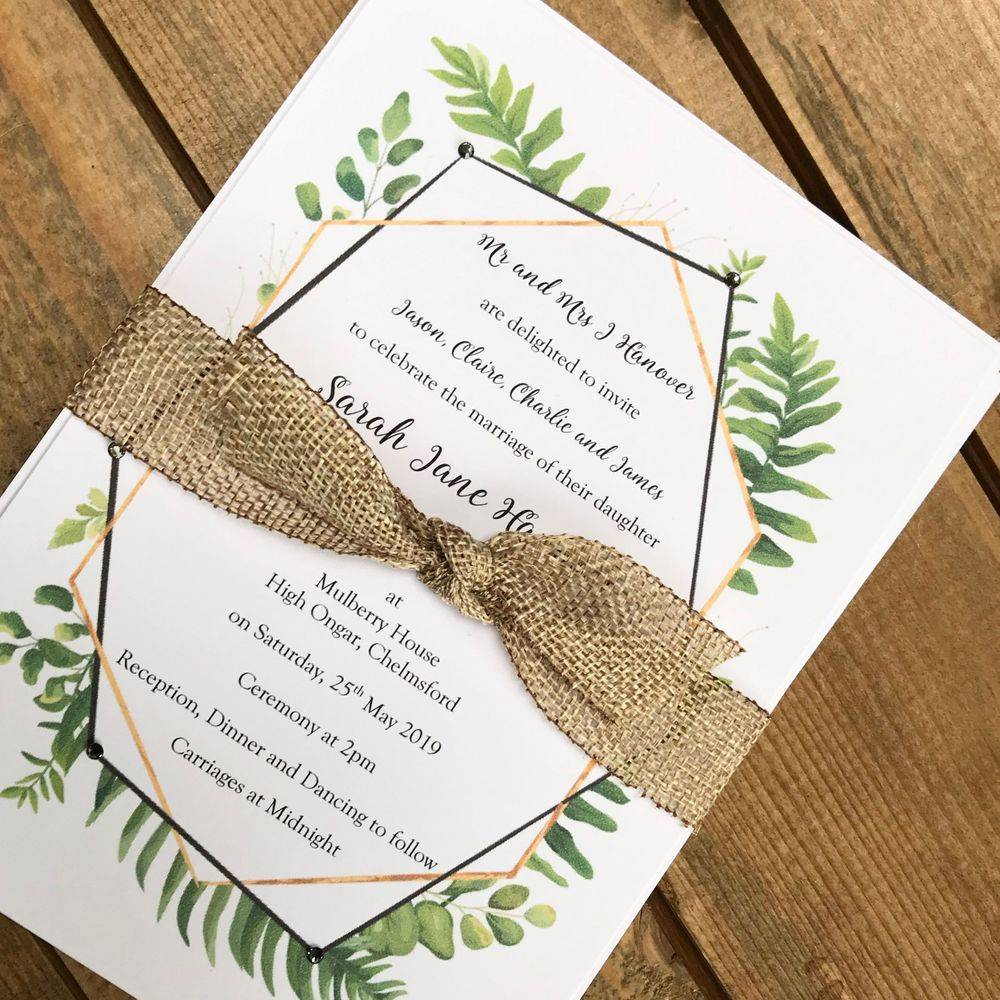 Wedding Invitation with deco style and ferns