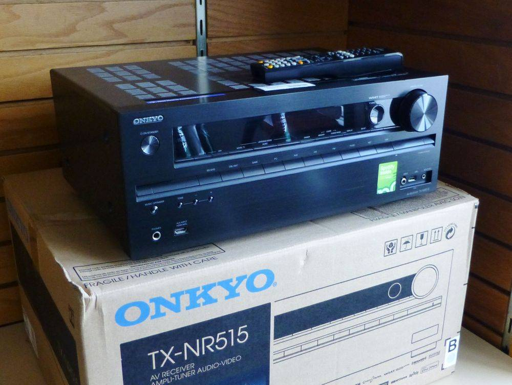 Closeup picture of Onkyo receiver on top of original box