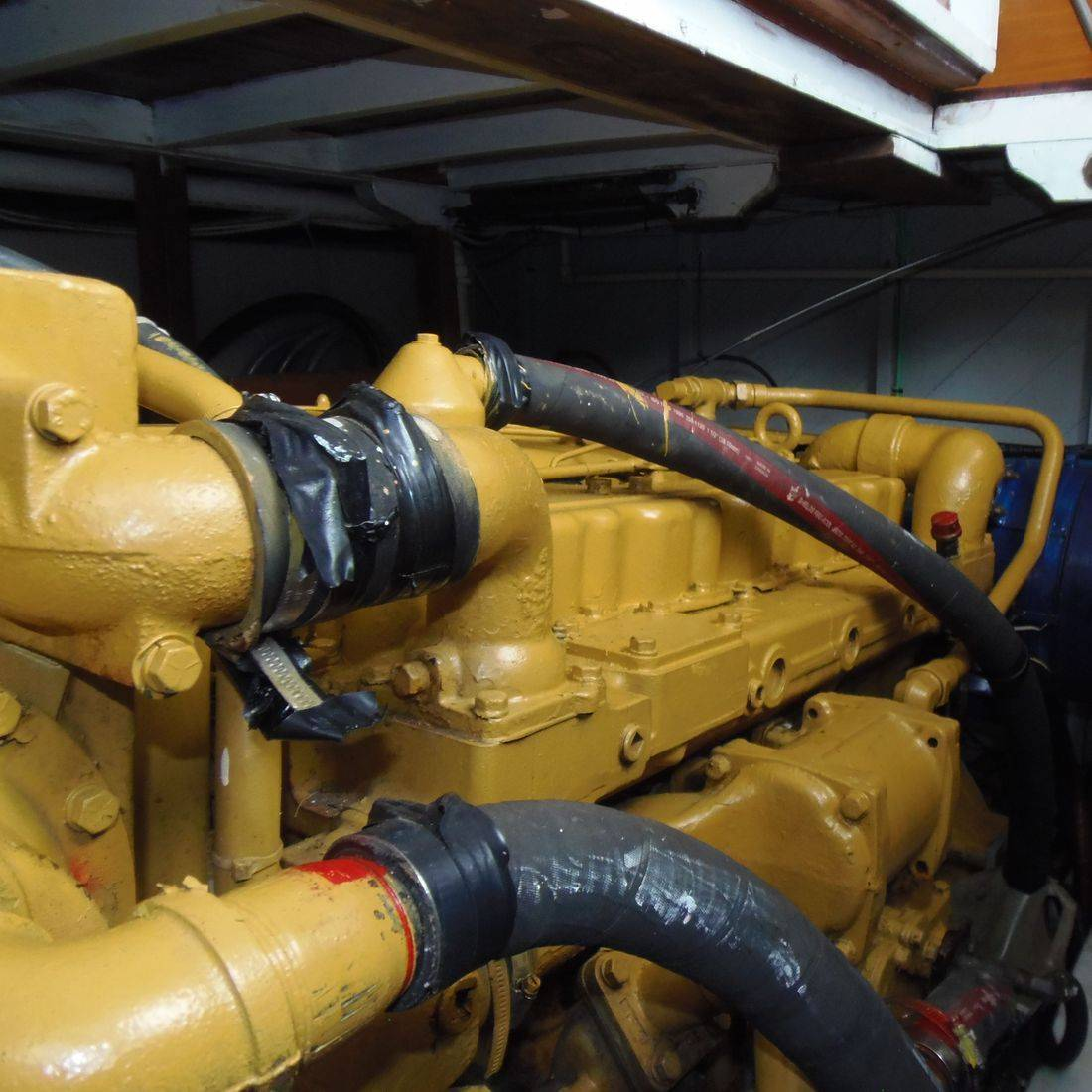 Diesel engine in wood boat for sale