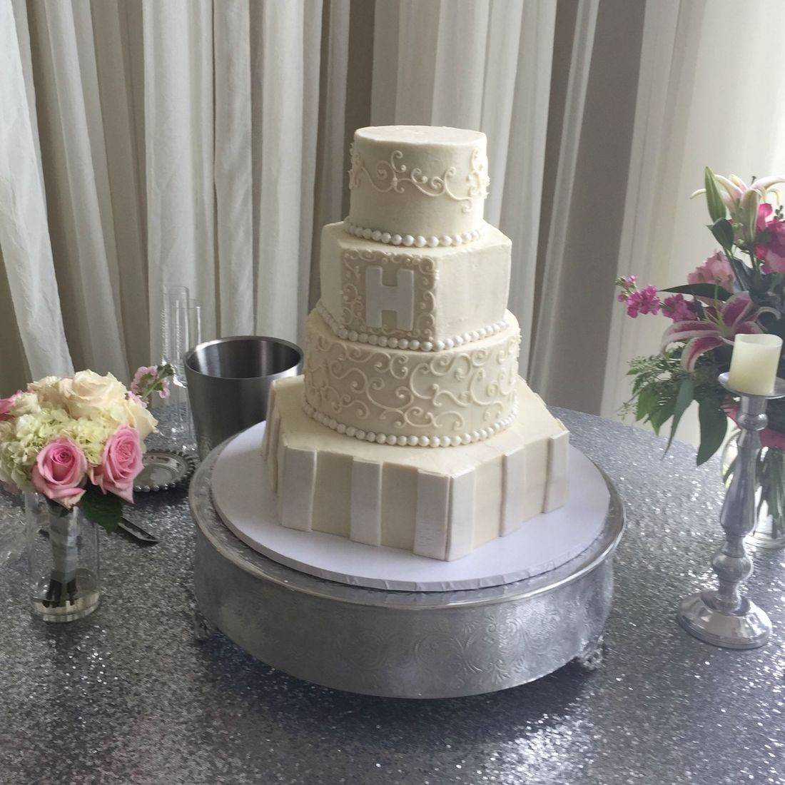 buttercream wedding cake with stripes and monogram elegant classic modern wedding cake